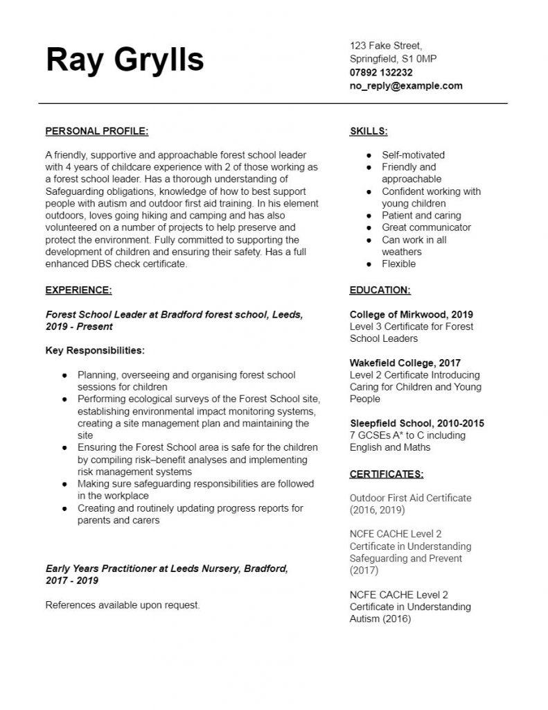Forest School Leader CV Template