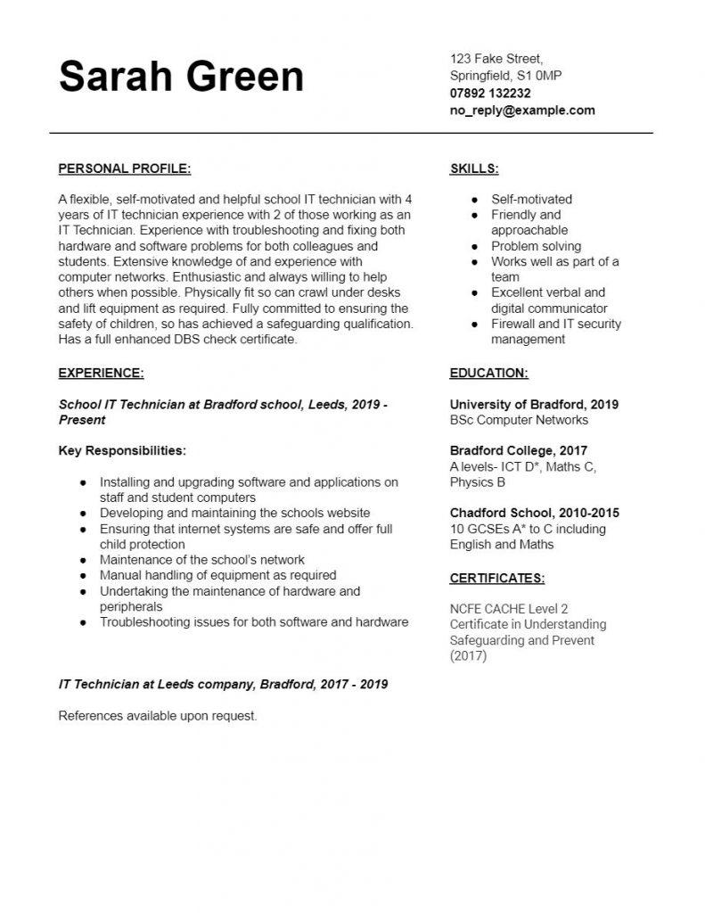 IT Technician CV Template