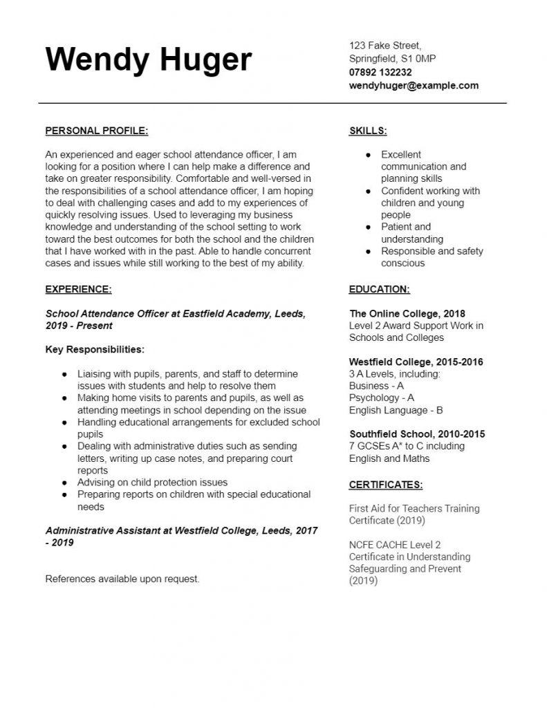 School Attendance Officer CV